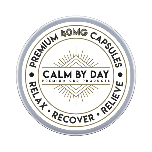 40mg Calm By Day Capsules tin packaging